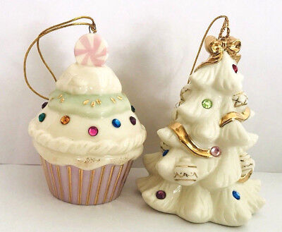 Set of 2 Lenox Cupcake And Chritmas Tree Christmas Holiday Porcelain Ornaments