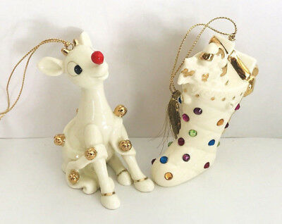 Set of 2 Lenox Merry Christmas Holiday Porcelain Ornaments Rudolf And A Stocking