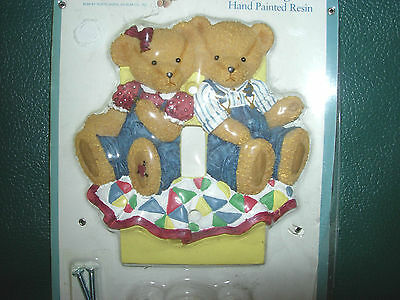 Excellent for teddy bear nursery-Cute BLUE JEAN TEDDY BEAR  single switchplate