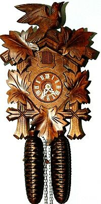 Beautiful Hand Carved *8* Day German Black Forest Cuckoo Clock! Sweet!