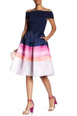 5095a60ba7e555 NEW TED BAKER London Holli Off-the-Shoulder Striped Dress in Navy Multi -  Size 1