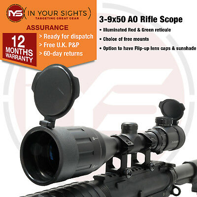 3-9x50 AO Airgun Rifle scope with mounts / Air Rifle scope Adjustable Objective