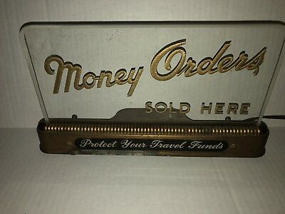 Vintage  Money Order Sold Here ROG Back Bar Display Sign Art Deco Man Cave Item