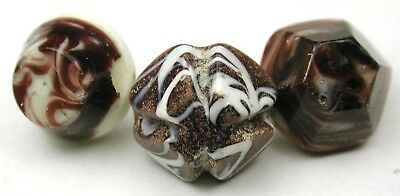 """3 Antique Charmstring Glass Buttons White w/ Brown Swirls 3/8 to 7/16"""" Sw Bk"""