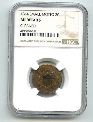 1864 Two Cent SMALL MOTTO!! VERY RARE!!!  AU DETAILS NGC. LOOK!!!