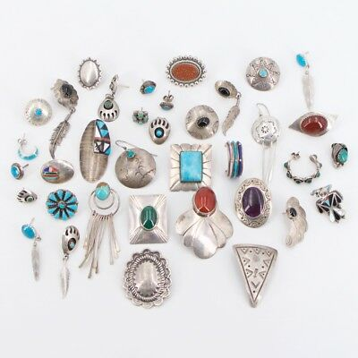 VTG Sterling Silver - Lot of 38 NAVAJO Assorted SINGLE Earrings NOT SCRAP - 94g