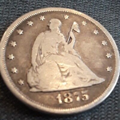 1875-CC 20 C cent piece coin RARE from my great-grandfather's collection