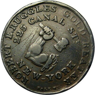 1835-38 New York City Hard Times Token Ruggles Gold Beater Arm & Hammer HT-308