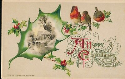 """1912 Embossed Winsch """"A Happy Christmas"""" Robins, Holly Christmas Postcard"""
