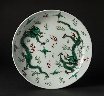 Chinese Antique Painted Dragon Dish