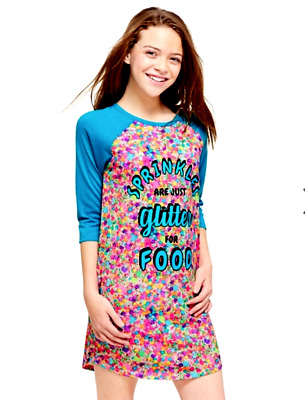 Justice Girls Size 10 Colorful Glitter For Food Scented Nightgown Nwt