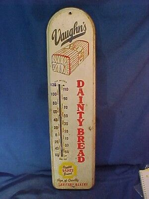 1940s VAUGHNS DAINTY BREAD Advertising Metal WALL THERMOMETER Works
