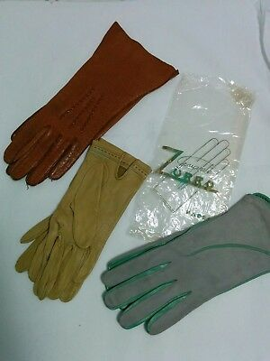 3 Pairs Vintage Women's Leather Gloves
