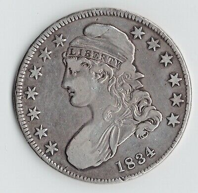 1834 Capped Bust Half Dollar, Small Date, Stars & Letters, XF