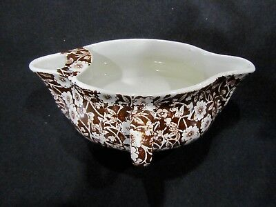 VTG Crownford China Staffordshire England Brown Calico Gravy Boat Chintz HTF @@