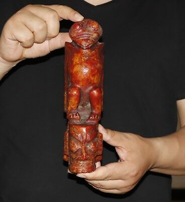 1690g Chinese jade carved Hongshan culture style jade statue height 24.2cm