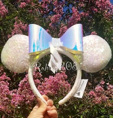 NWT Disney Parks DLR Disneyland White Sequin Iridescent Bow Minnie Ears Headband