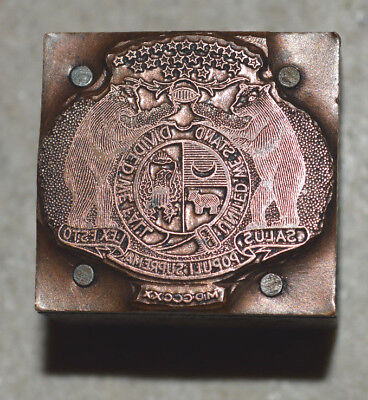 Vintage Letterpress Printer's Block  The Great Seal of the State of Missouri