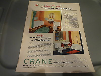 "1946 Crane Plumbing Bathroom Plumbing Vintage Magazine Ad ""For Veteran's Housing"