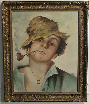 Vintage Italian Portrait Of Young Boy Smoking Pipe Impressionist Painting O/c