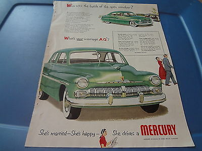 """1950 Mercury Vintage Magazine Ad """"Who wins the battle of the open window?"""""""