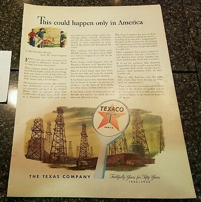 "1952 Texaco Oil Vintage Magazine Ad ""This could happen only in America"""