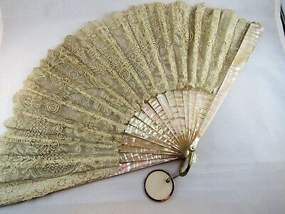 Antique Brussels Duchess & needlepoint lace MOP bovine bone lady's fan c1900