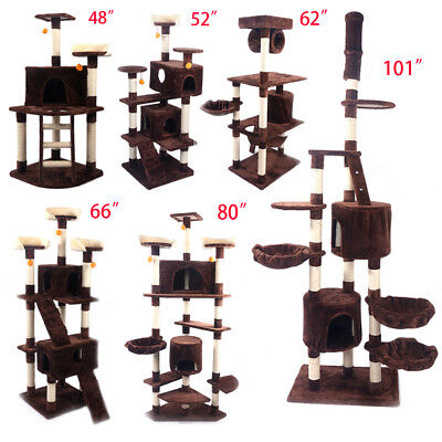 "48""—101"" Cat Tree Tower Condo Furniture Scratching Post Pet Mat Play House"