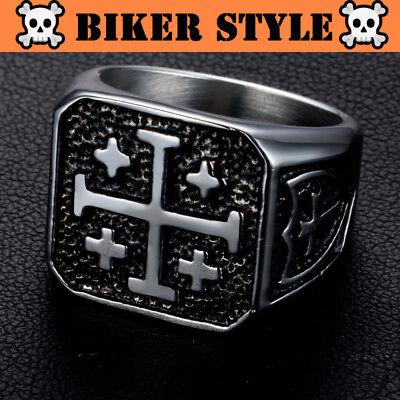 CRUSADERS Medieval Knight Style Cross Ring Stainless Steel Ring Gothic Biker