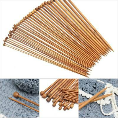 36Pcs Single Pointed Carbonized Bamboo Knitting Needles Crochet Set 18 sizes