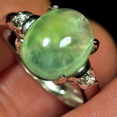 15.4CT 100% Natural 18K Gold Plated Green Prehnite Cab Ring UDPG177