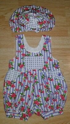 Vintage 80s Kids On The Go 3T bubble overalls romper one piece shorts hat floral