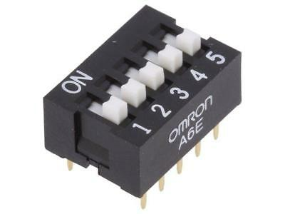 2x A6E-5104 Switch DIP-SWITCH Poles number5 ON-OFF 0.025A/24VDC 100MΩ  OMRON