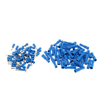 WIRE CONNECTORS TERMINALS KIT ELECTRICAL WIRING INSULATED 100PCS Blue