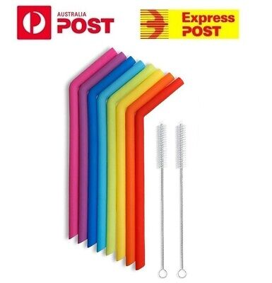 8 x Food Grade Silicone Drinking Bent Reusable Eco Straw Straws Brushes + POUCH