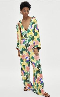Bnwt Zara Tropical Print Jumpsuit Size Large Sold Out Bloggers Favourite