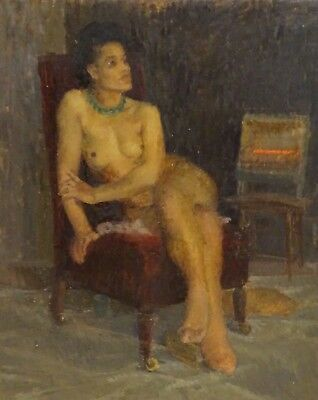 Fine Large 20th Century English Impressionist Nude Studio Portrait Oil Painting