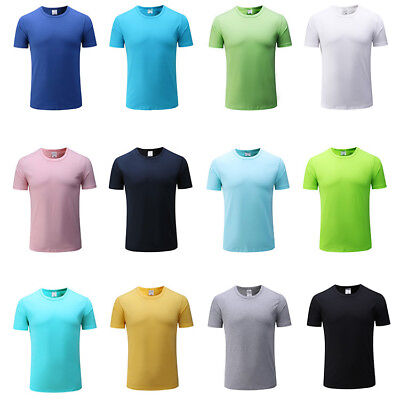 Men Boy's Summer Plain Blank Solid Casual Shirt T-shirt Top O-Neck Short Sleeve