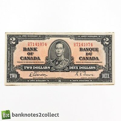 CANADA: 1 x 2 Canadian Dollar Banknote. Dated  02.01.37. George VI.