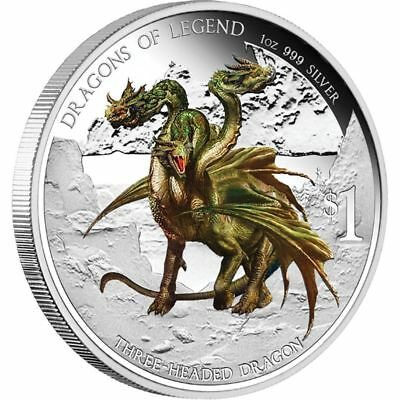 2013 $1 Dragons of Legend. Three Headed Dragon.1oz Silver Proof Coin Perth Mint.