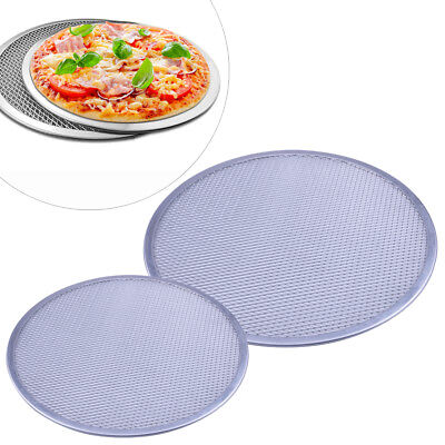 Alu Alloy Flat Mesh Pizza Screen Round Baking Tray Net Kitchen Tools Hot 2 Size