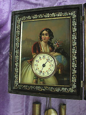 Rare Antique Wall Clock Black Forest Augenwender Greek lady Eye  Automata