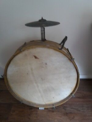 Antique Street Musician Drum and Cymbal. Probably 1940's maybe 1950's