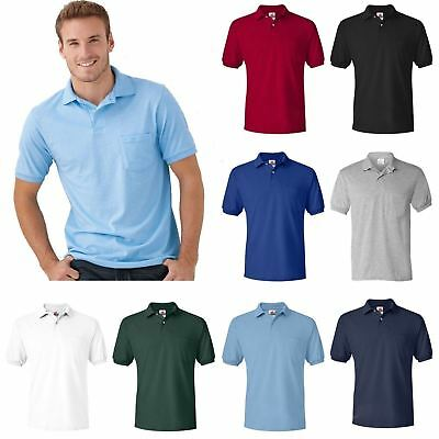 Mens New Plain Pocket Polo Shirt Short Sleeve Tee Pique Cotton