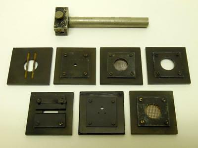Vintage Griffin & Tatlock Optical Bench Holder & 7 Diffraction Objects (A)