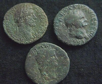 Lot of 3 Ancient Roman coins, AE As, of Nero, Vaspasian, Antoninus Pius  CC8756