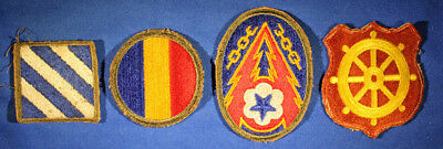 Us Ww2 Unit Shoulder Patches In Full Color 4 Different