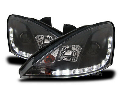 Cuplu frontal faruri LED DRL Look Ford FOCUS 1 C170 1998-2001 Daylight negri ES