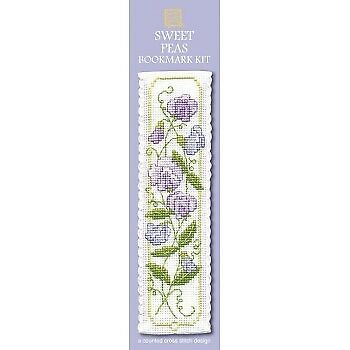 Sweet Peas Bookmark Counted Cross Stitch Kit by Textile Heritage