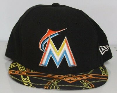 58a9932313c New Era Miami Marlins Black Cap Real Chains Visor 5950 Fitted MLB Hat Size  7 1